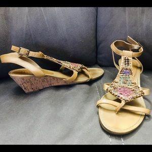 NICOLES Beaded Batik Cork Wedge Sandals - Size: 7